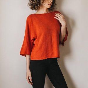 Vintage Kimono Sleeve Coral Orange Sweater